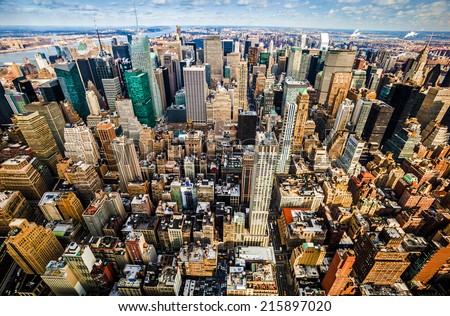 Aerial view of Manhattan, New York City. - stock photo