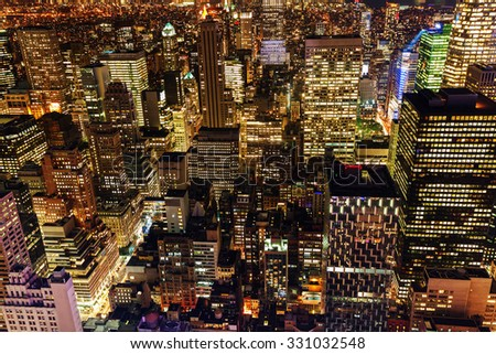 aerial view of Manhattan, New York City, at night  - stock photo