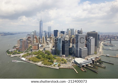 Aerial view of  Manhattan, New York City, U.S.A.