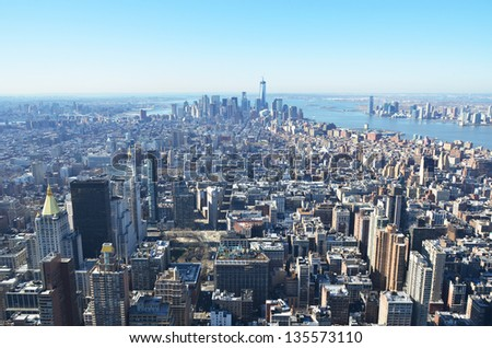 Aerial view of Manhattan, NYC - stock photo