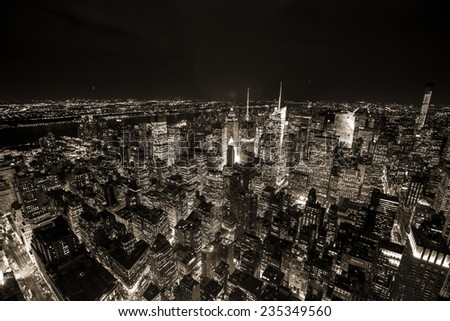 Aerial view of Manhattan NYC.