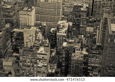 Aerial view of Manhattan, NYC,