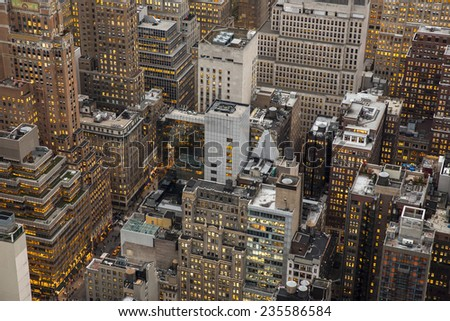 Aerial view of Manhattan skyscrapers. - stock photo