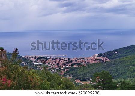Aerial view of Marciana Marina, Elba Island, Tuscany, Italy - stock photo