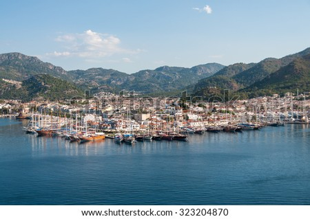 Aerial view of Marmaris in Turkey on a sunny morning. - stock photo