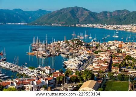 Aerial view of Marmaris on Turkish Riviera. - stock photo
