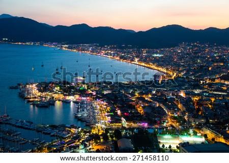 Aerial view of Marmaris on Turkish Riviera by night - stock photo