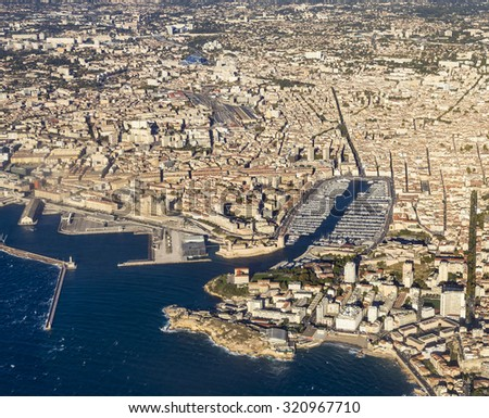 aerial view of Marseille in France in Midday light - stock photo