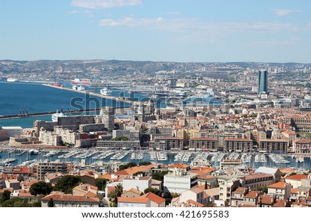 Aerial view of Marseille, the south of France, summer outdoor