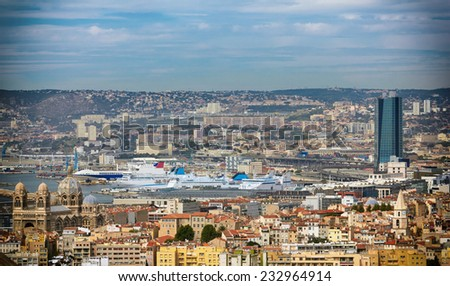 Aerial view of Marseilles City and its Harbor, France.