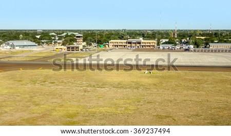 aerial view of Maun Airport in Botswana, Africa - stock photo