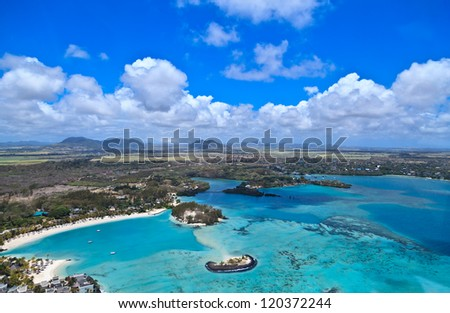 Aerial view of Mauritius - stock photo