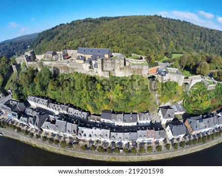 Aerial view of medieval Bouillon castle, Belgium, Province Luxembourg - stock photo