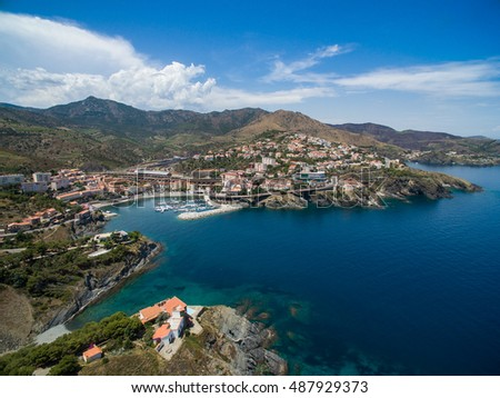 Aerial view of Mediterranean village in Spain with beautiful cove and deep blue water. Costa Brava, Spain.