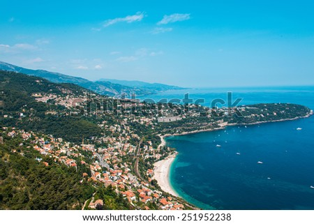 Aerial view of Menton town in French Riviera - stock photo