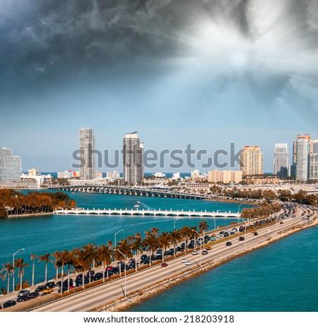 Aerial view of Miami Beach. - stock photo
