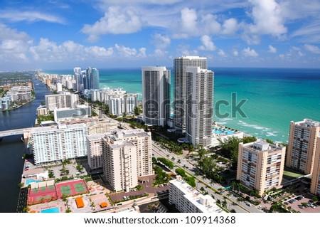 Aerial view of Miami beach area, Florida, USA - stock photo