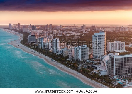 Aerial view of Miami Beach buildings.