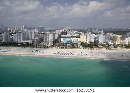 Aerial View of Miami Beach Ritz Carlton - stock photo