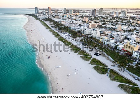 aerial view of miami florida south beach and hotel at dusk, spring 2016