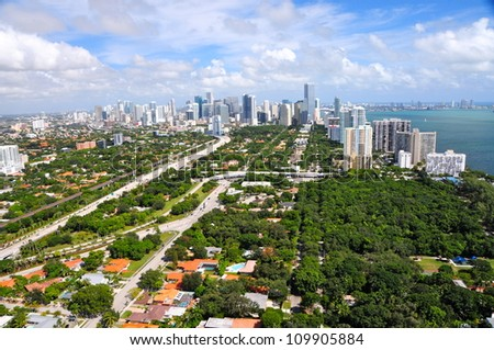 Aerial view of Miami, Florida, USA - stock photo