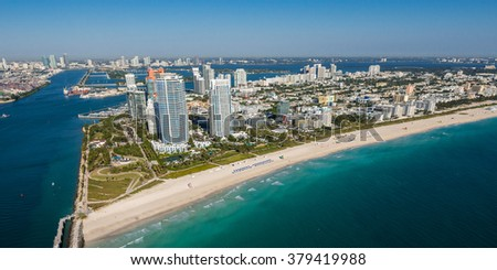 aerial view of miami's south beach on clear blue sky morning
