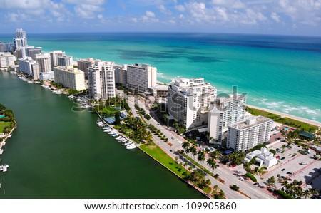 Aerial view of Miami South Beach, Florida, USA - stock photo