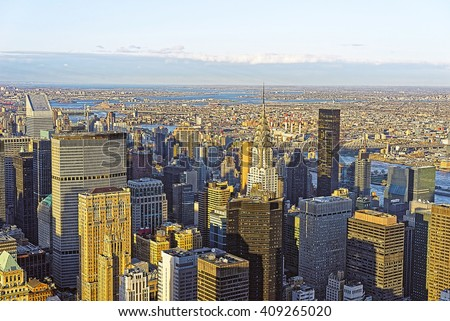 Aerial view of Midtown Manhattan and Long Island City, New York City, USA. Skyline with skyscrapers. Queensboro bridge, East River. - stock photo