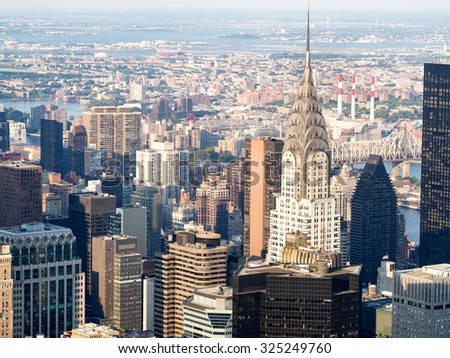 Aerial view of midtown Manhattan in New York City - stock photo