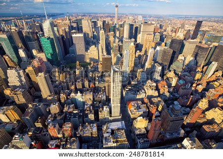Aerial view of Midtown Manhattan skyscrapers, New York, United States - stock photo