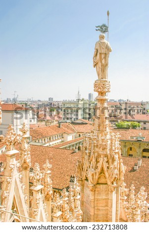 Aerial view of Milan, Italy - stock photo