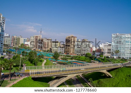 Aerial view of Miraflores Park, Lima - Peru - stock photo