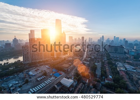 aerial view of modern cityscape in tianjin on the morning , China