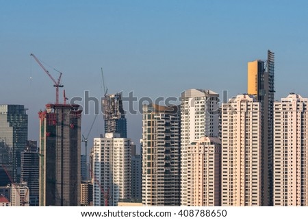 Aerial view of modern high rise office buildings, condominium at business area in big city downtown - stock photo