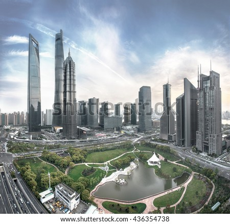 Aerial View of modern urban skyline and cityscape in Shanghai - stock photo