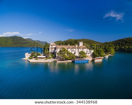 Aerial view of Monastery of Saint Mary on Mljet island, Croatia. - stock photo