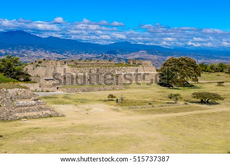 Aerial view of Monte Alban, a large pre-Columbian archaeological site, Santa Cruz Xoxocotlan Municipality, Oaxaca State.  UNESCO World Heritage