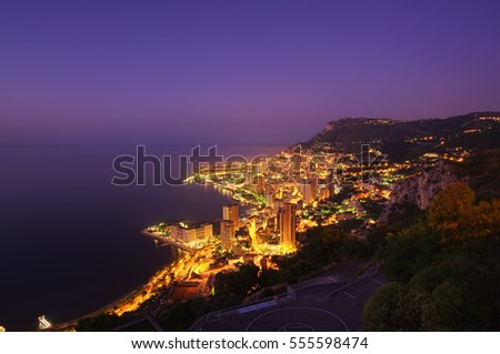 aerial view of Monte Carlo city at night, Monaco