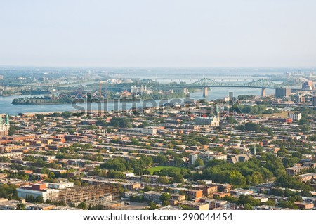 Aerial view of Montreal at sunset - stock photo
