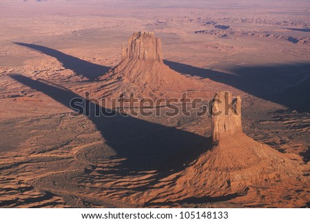 Aerial View of Monument Valley at Sunset, Arizona