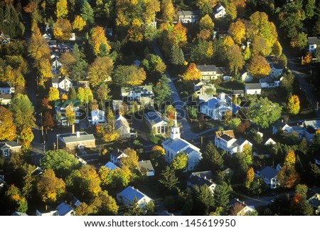 Aerial view of Morrisville, VT in Autumn on Scenic Route 100 at sunset - stock photo
