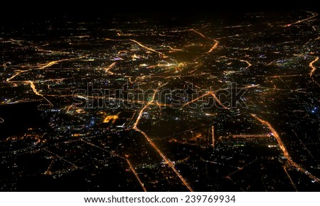 Aerial view of Moscow at night