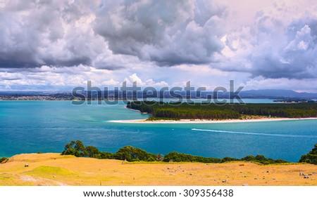 Aerial view of Moturiki Island. Tauranga locality, New Zealand. - stock photo