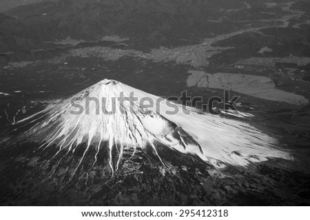 Aerial view of Mount Fuji, Japan. Mt. Fuji is the highest mountain in Japan. It was added to the World Heritage in June, 2013. - stock photo