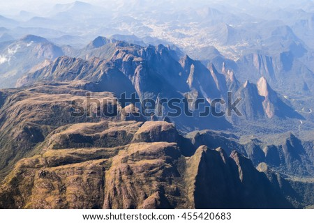 Aerial view of mountain range in Brazil