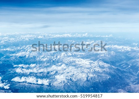 aerial view of mountain,taken on the airplane.