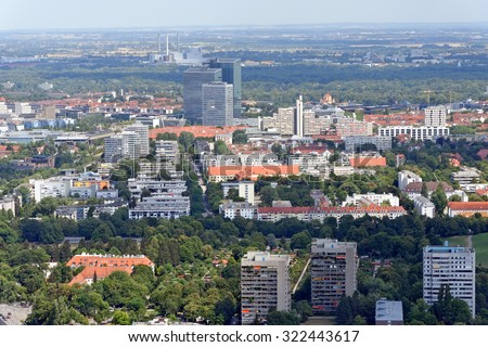 Aerial view of Munich, Germany from the 291 m high Olympic tower (Olympiaturm).