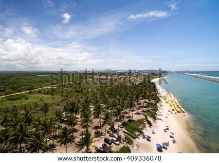 Aerial View of Muro Alto Beach, Pernambuco, Brazil - stock photo