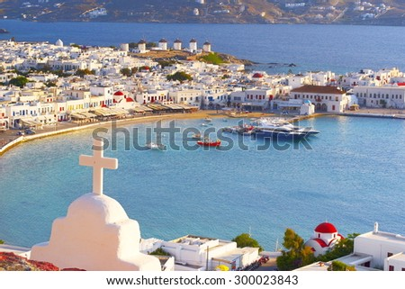 Aerial view of Mykonos Town, Chora - Mykonos Island, Greece