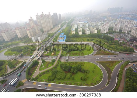 Aerial view of Nanchang Honggutan at City overpass